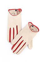 Женские кожаные перчатки белого цвета  с цветными вставками по бокам и на застежке-кнопке