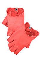 Красные кожаные перчатки без пальцев