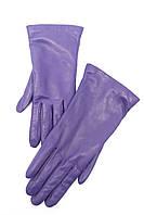Фиолетовые короткие перчатки из натуральной кожи