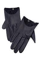 Женские перчатки синего цвета из натуральной кожи