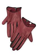 Женские перчатки цвета марсала с черными вставками из натуральной кожи