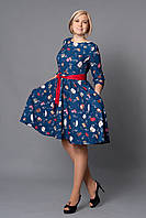 Праздничное платье с пышной юбкой  синего цвета с оригинальным принтом