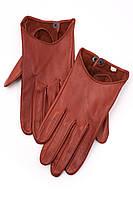 Женские перчатки коричневого цвета из натуральной кожи