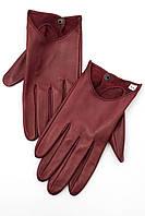 Женские однотонные перчатки цвета марсала из натуральной кожи