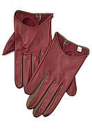 Женские перчатки цвета марсала с коричневыми вставками из натуральной кожи