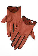 Женские перчатки из натуральной кожи горчичного цвета с коричневыми вставками