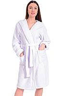 Белый  банный халат женский флисовый L