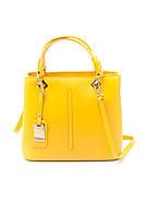 Желтая кожаная сумка-тоут с двумя отделениями на молнии