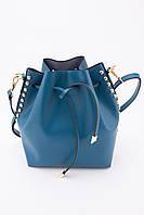 Синяя кожаная сумка-ведро с регулирующимся ремешком через плечо и ручкой