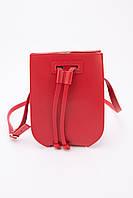 Красная кожаная сумка-ведро