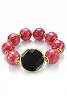 Женский браслет из натурального камня красного и черного цветов