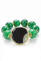 Оригинальный браслет из натурального камня зеленого и черного цветов