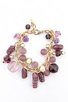 Женский металлический браслет с полудрагоценными камнями