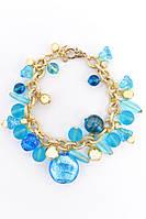 Модный женский браслет на руку из муранского стекла голубого цвета