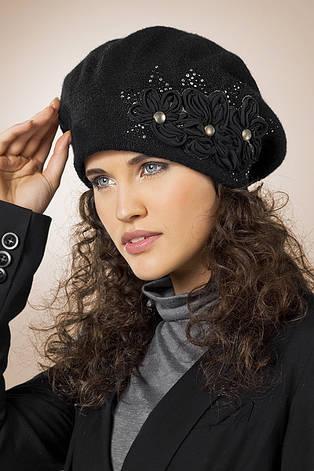 Женский модный нарядный берет, украшенный шифоновой цветочной аппликацией, Польша. , фото 2
