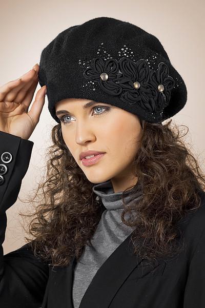 Женский модный нарядный берет, украшенный шифоновой цветочной аппликацией, Польша.