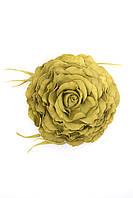 Оливковая брошь-роза из фоамирана