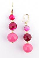 Женские серьги из муранского стекла и розового агата