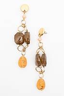 Длинные серьги на золотистой цепочке с камнями из эпоксидной смолы