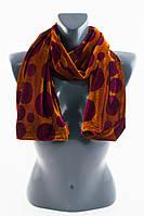 Коричневый шарф в крупный горох из велюра