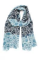 Синий шарф с белыми узорами