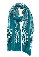 Ярко-зеленый кашемировый шарф с геометрическими узорами