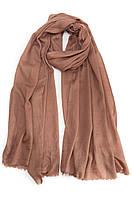 Однотонный кашемировый палантин коричневого цвета