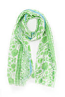 Яркий зеленый шарф с цветочным принтом