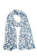 Синий шарф с бабочками
