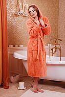 Халат большого размера женский банный 54-58  персиковый