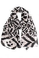 Женский шёлковый черно-белый шарф-парео