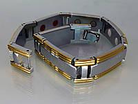 Магнитный браслет из медицинской стали с использованием биокерамики и позолотой. МБ1.