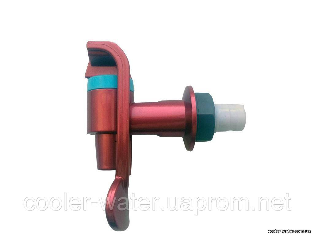 Кран холодной воды с гайкой (красный)