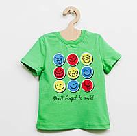 """Зеленая футболка """"Смайлик"""" для мальчика"""