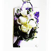 Подарочный пакет 16х25х7 СРЕДНИЙ УЗКИЙ Букет белых роз