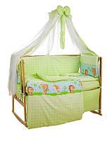 Детское постельное белье Премиум Класса салатовый Лесные звери +держатель для балдахина в подарок!