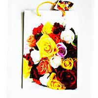 Подарочный пакет 16х25х7 СРЕДНИЙ УЗКИЙ Букет разноцветных роз