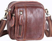 Кожаная мужская сумка 673brown, светло-коричневая