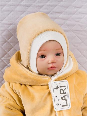 Зимняя шапочка для новорожденных, капучино