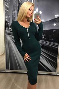 Платье женское миди с длинынм рукавом ft-298 темно-зеленое 42-44