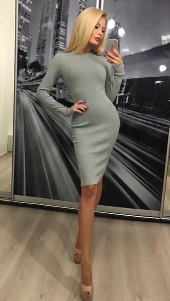 Платье миди с длинным рукавом из ангоры ft-300 серое 44-46