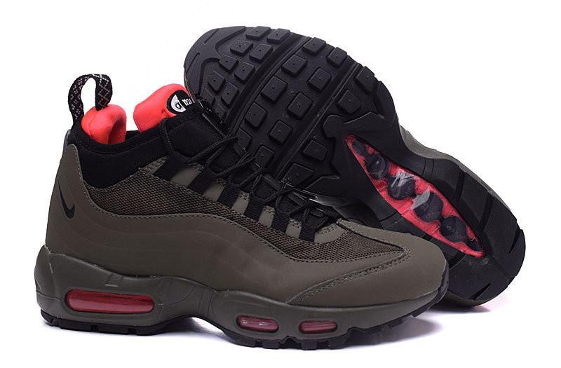 Мужские кроссовки Nike Air Max 95 Sneakerboot Dark Brown/Red топ реплика