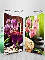 Ширма, тканевая двусторонняя,фен-шуй орхидеи