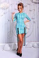 """Асимметричное трикотажное платье в клетку """"Paloma"""" с молниями (2 цвета)"""
