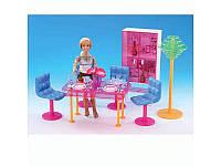 Мебель для кукол (столовая, стол, стулья 4шт, торшер, шкаф, посуда), 2912