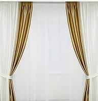 Шторы на окна белые с подхватами в комплекте