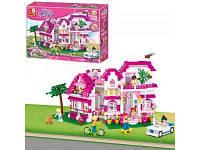 Детский конструктор розовый загородный дом