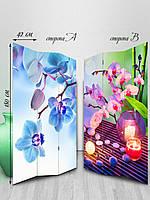 Ширма, тканевая двусторонняя, синяя орхидея свеча тонкая эенергия гармония