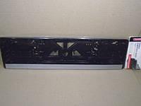 Рамка номерного знака серебряная полоса CarLife (подномерник) 1шт