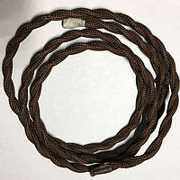 Провод в тканевой оплетке ретро плетёный (Factory) / Тёмно оливково - коричневый